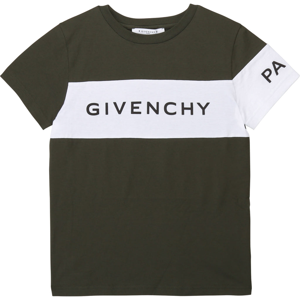 GIVENCHY SHORT SLEEVES TEE-SHIRT, KHAKI 2019 - Cemarose Children's Fashion Boutique