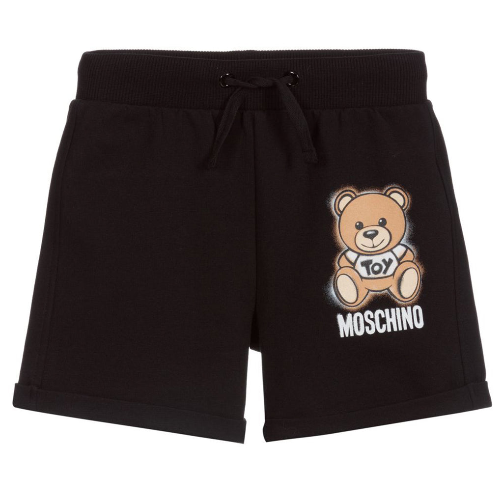GIRL SHORTS W TOY LOGO PRINT,BLACK