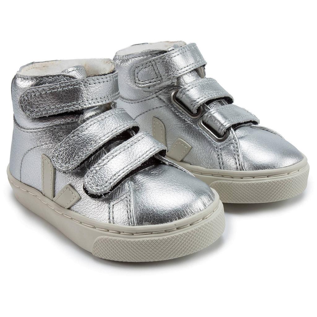 Baby Silver Leather Velcro With White ''V'' Shoes