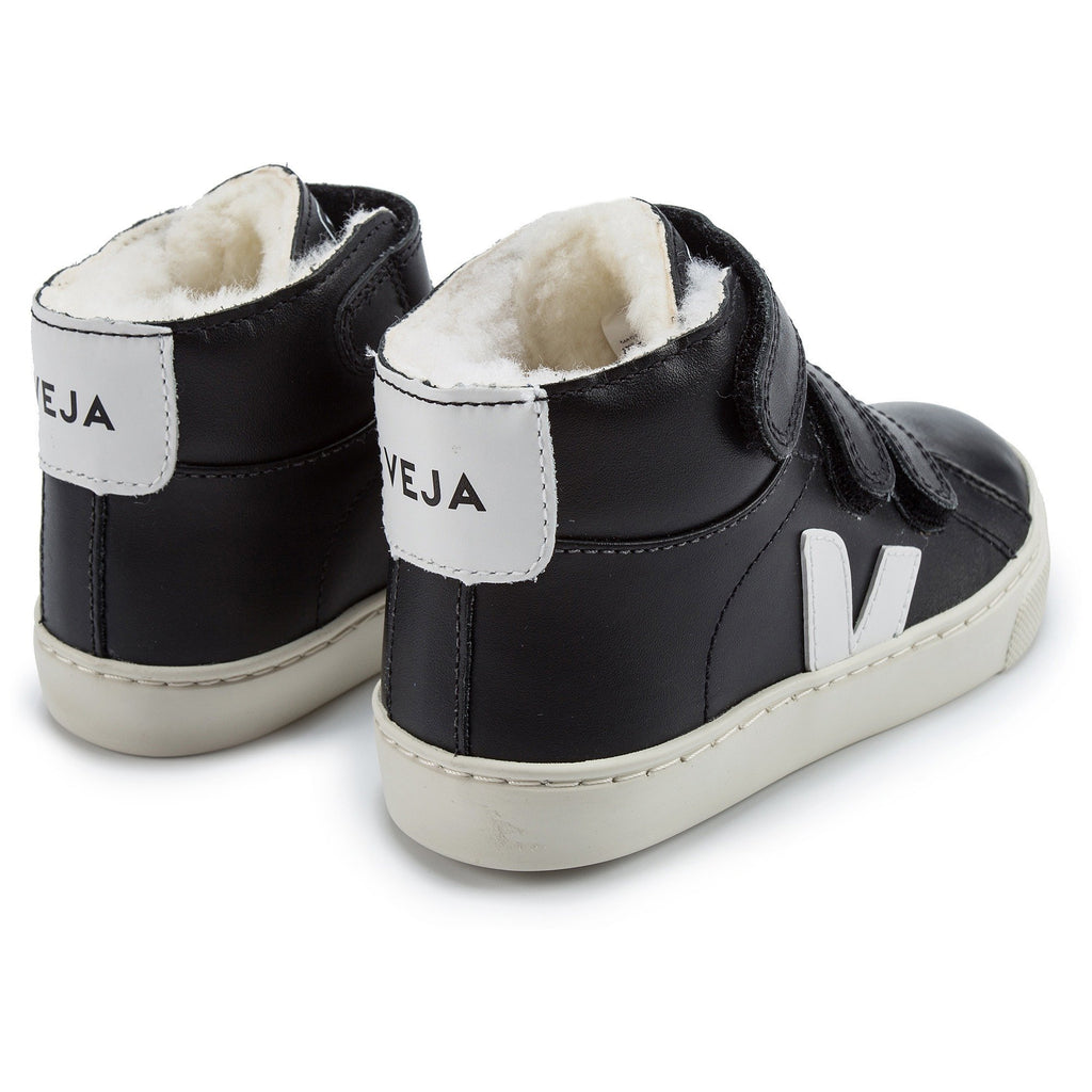 Boys Black Leather Velcro High Top Shoes - Cemarose Children's Fashion Boutique