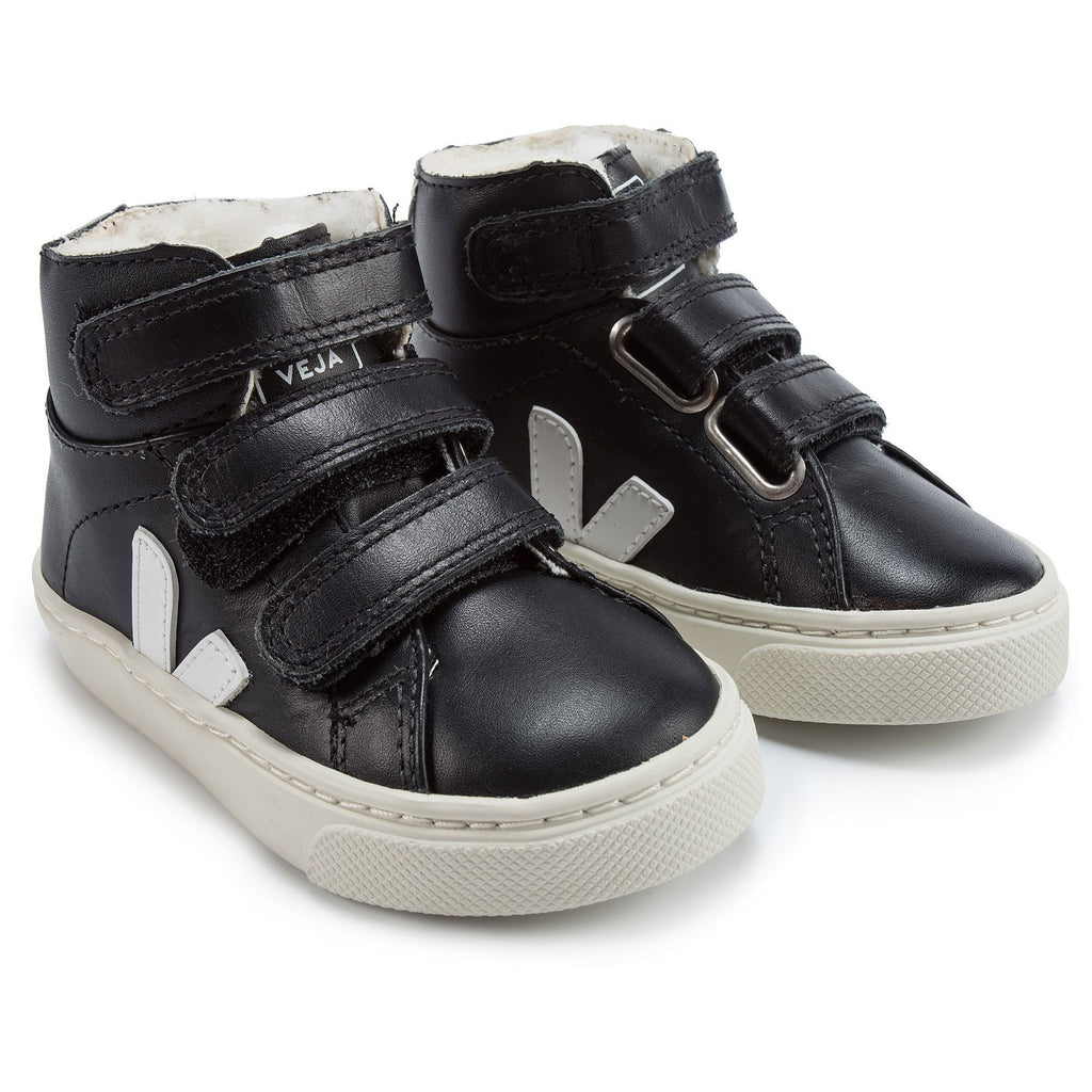 Baby Black Leather Velcro High Top Shoes