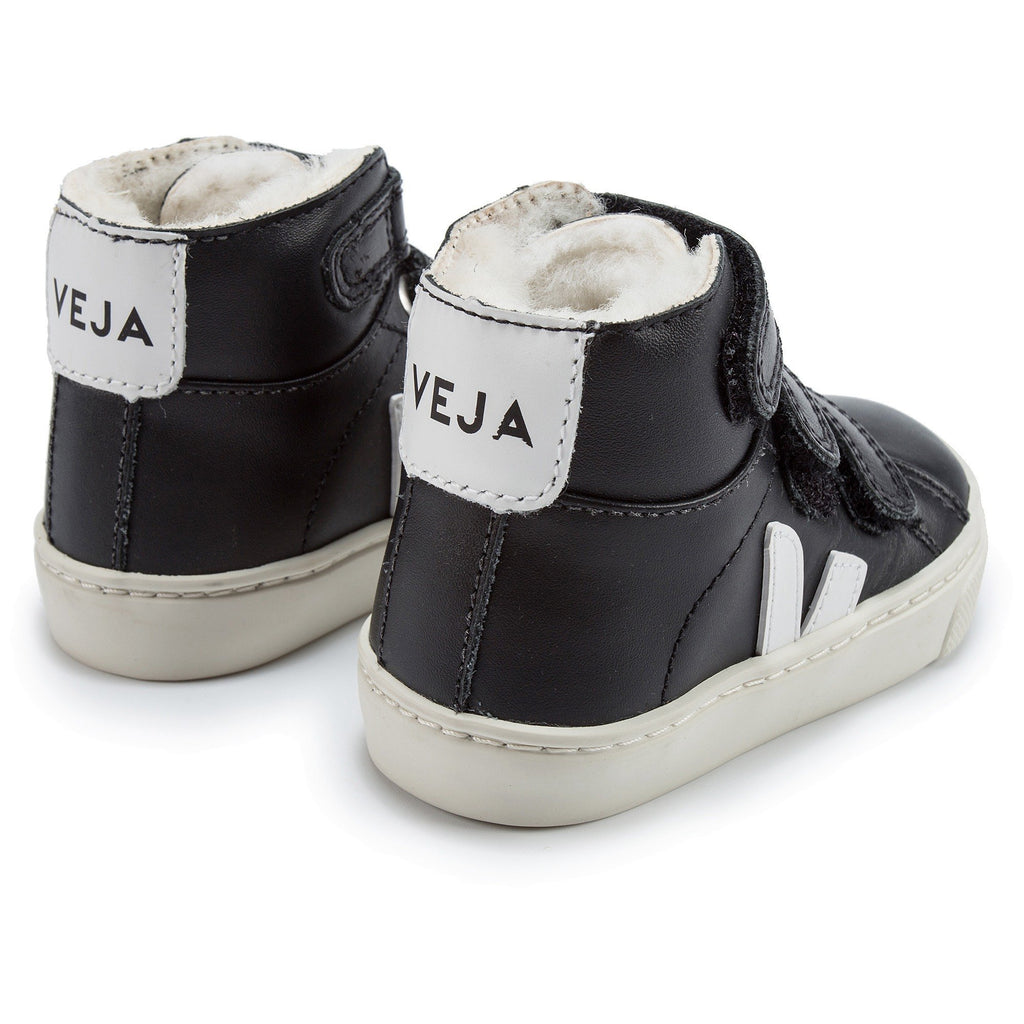 Baby Black Leather Velcro High Top Shoes - Cemarose Children's Fashion Boutique
