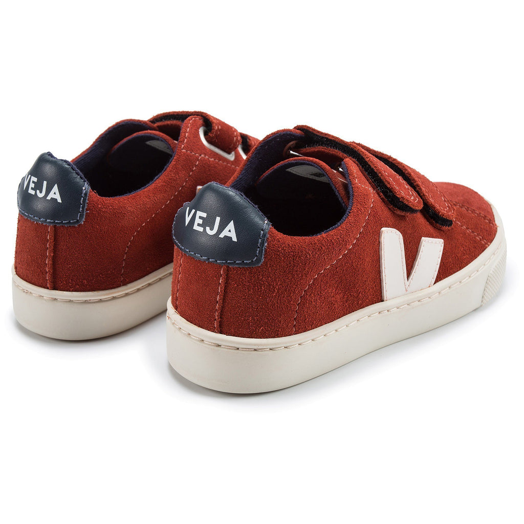 Girls & Boys Red Leather Velcro With White ''V'' Shoes