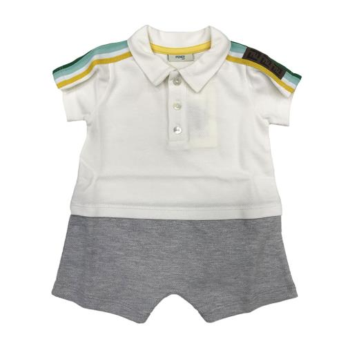 BB BOY SS POLO ROMPER W STRIPES PATTERN,WHT GRY