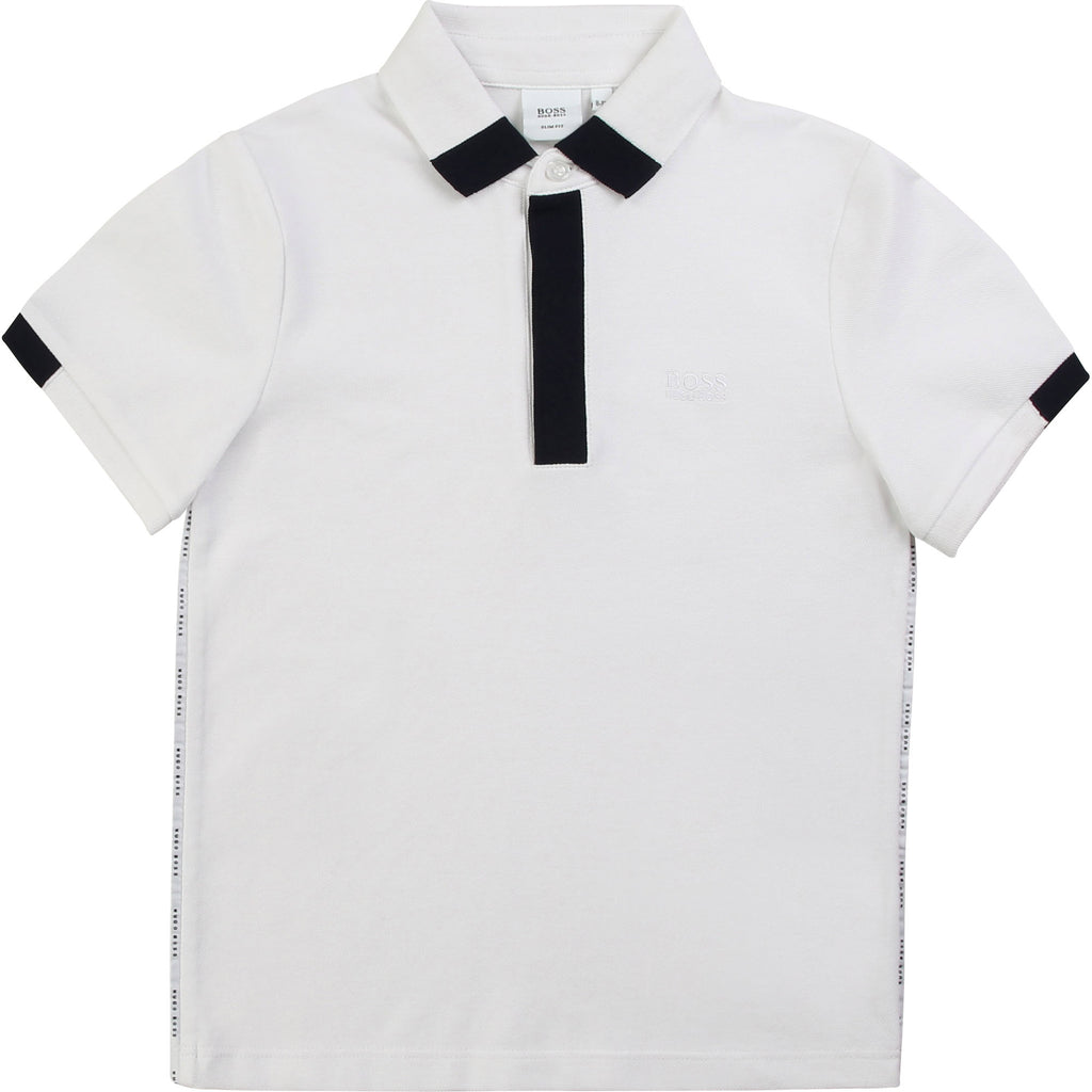 SHORT SLEEVE POLO, WHITE - Cemarose Children's Fashion Boutique