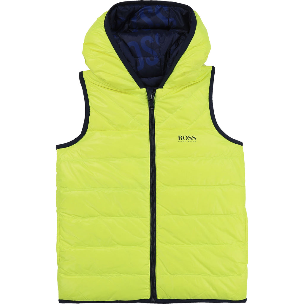KID REVERSIBLE PUFFER VEST JACKET,GREEN LEMON