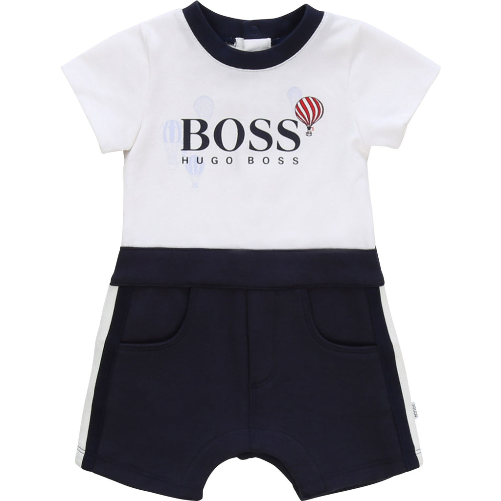 NEWBORN BOY SHORT ALL IN ONE, WHITE - Cemarose Children's Fashion Boutique