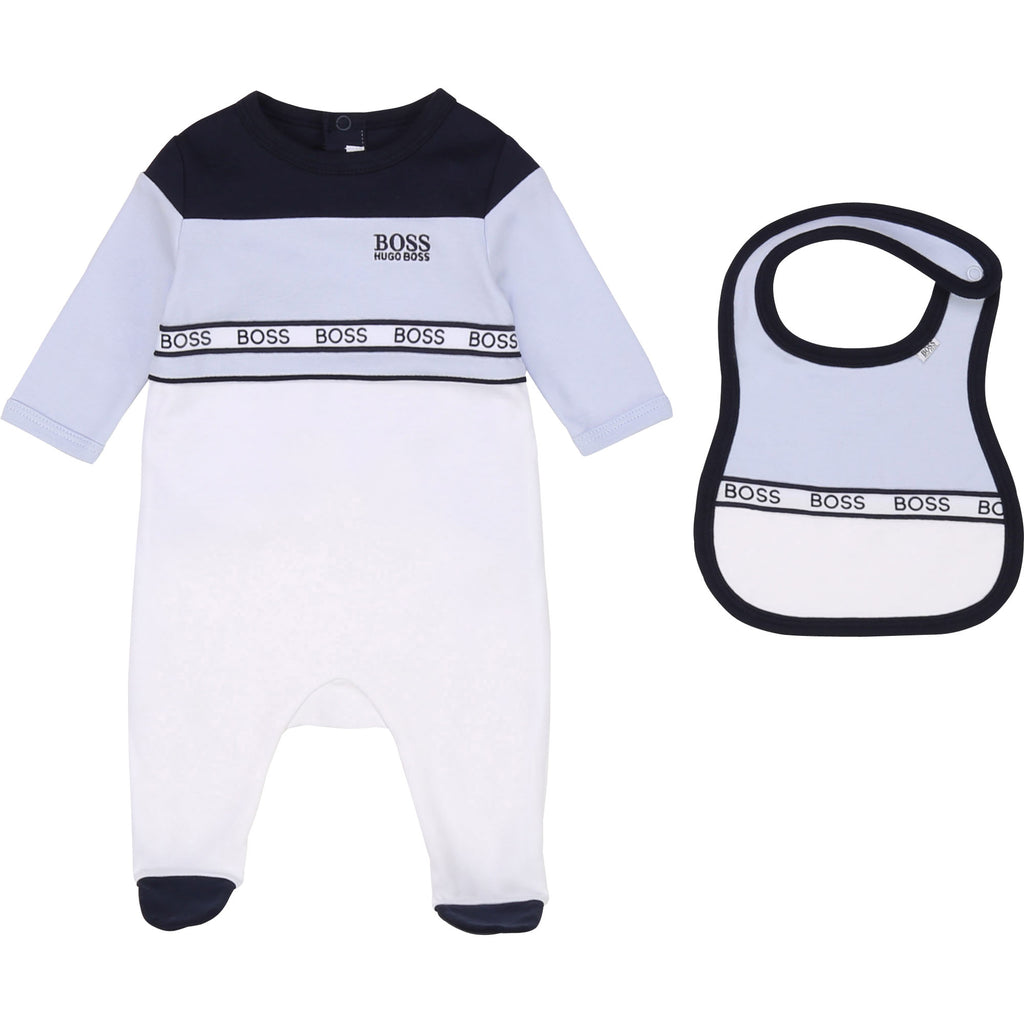 SET PYJAMAS+BIB,BLUE WHITE