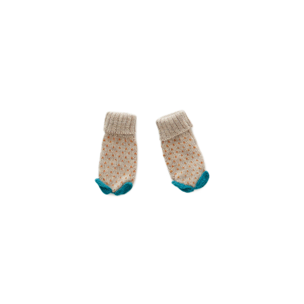 dot mittens, grey/ochre - Cemarose Children's Fashion Boutique