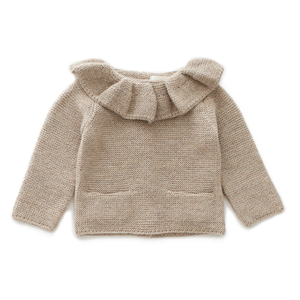 ruffle neck sweaters, grey - Cemarose Children's Fashion Boutique