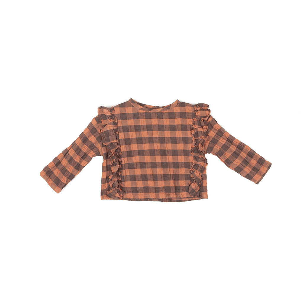 LS GRL RUFFLES BLOUSE, TREE BARCK CHECK - Cemarose Children's Fashion Boutique
