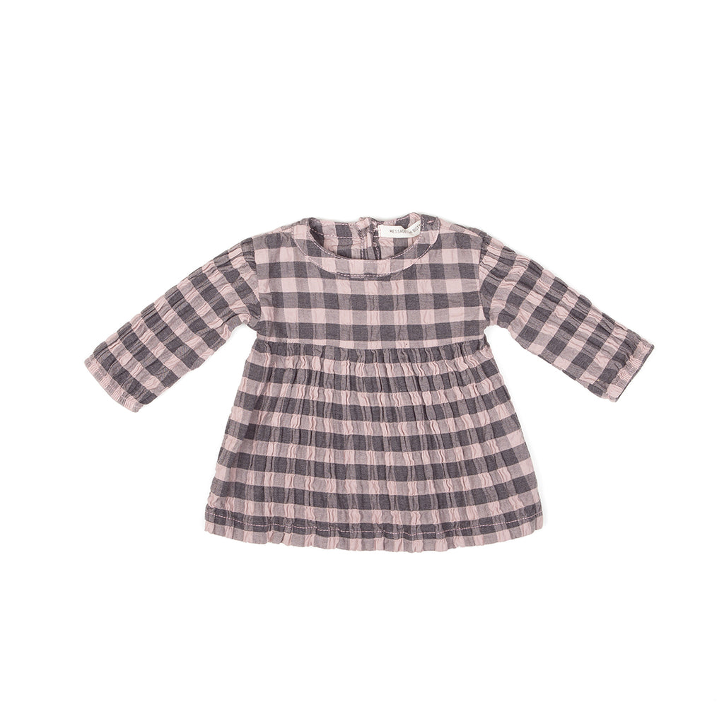 LS VERTICAL STRIPES DRESS, ROSE CHECK - Cemarose Children's Fashion Boutique