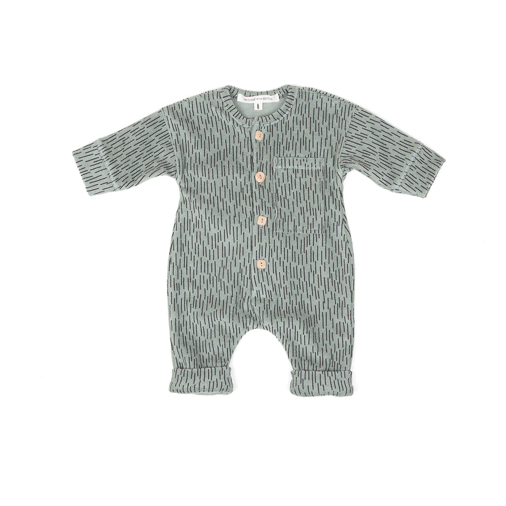 LS JUMPSUIT FRONT POCKET, MOSS RAINING - Cemarose Children's Fashion Boutique