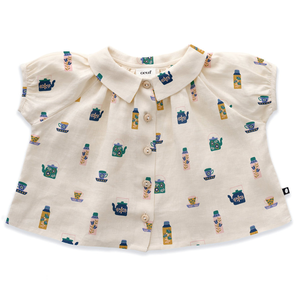 Short Sleeve Blouse-Gardenia/Tea