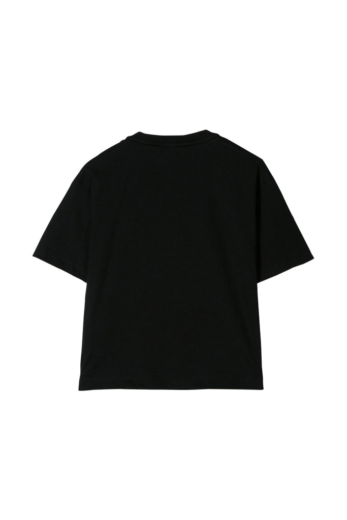 BOYS SS TEE LARGE LOGO ON FRONT, BLACK