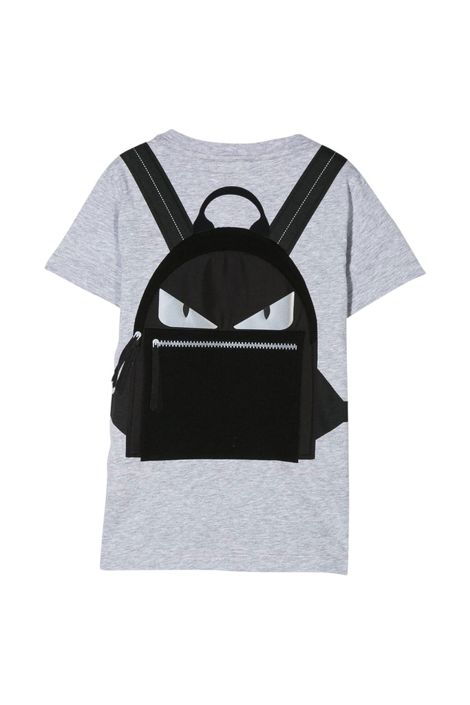 SS TEE WITH BACKPACK ILLUSTRATION, GREY - Cemarose Children's Fashion Boutique