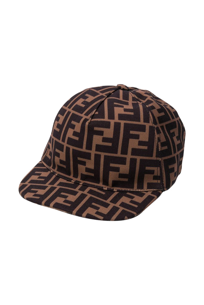 ALLOVER LOGO PRINT CAP, BROWN