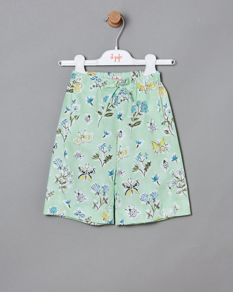 KID GIRL FLOWER AND BUG CAPRIS, GREEN