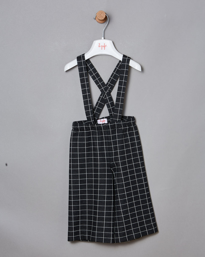 KID GIRL CHECK CULOTTES WITH SUSPENDERS, BLACK - Cemarose Children's Fashion Boutique