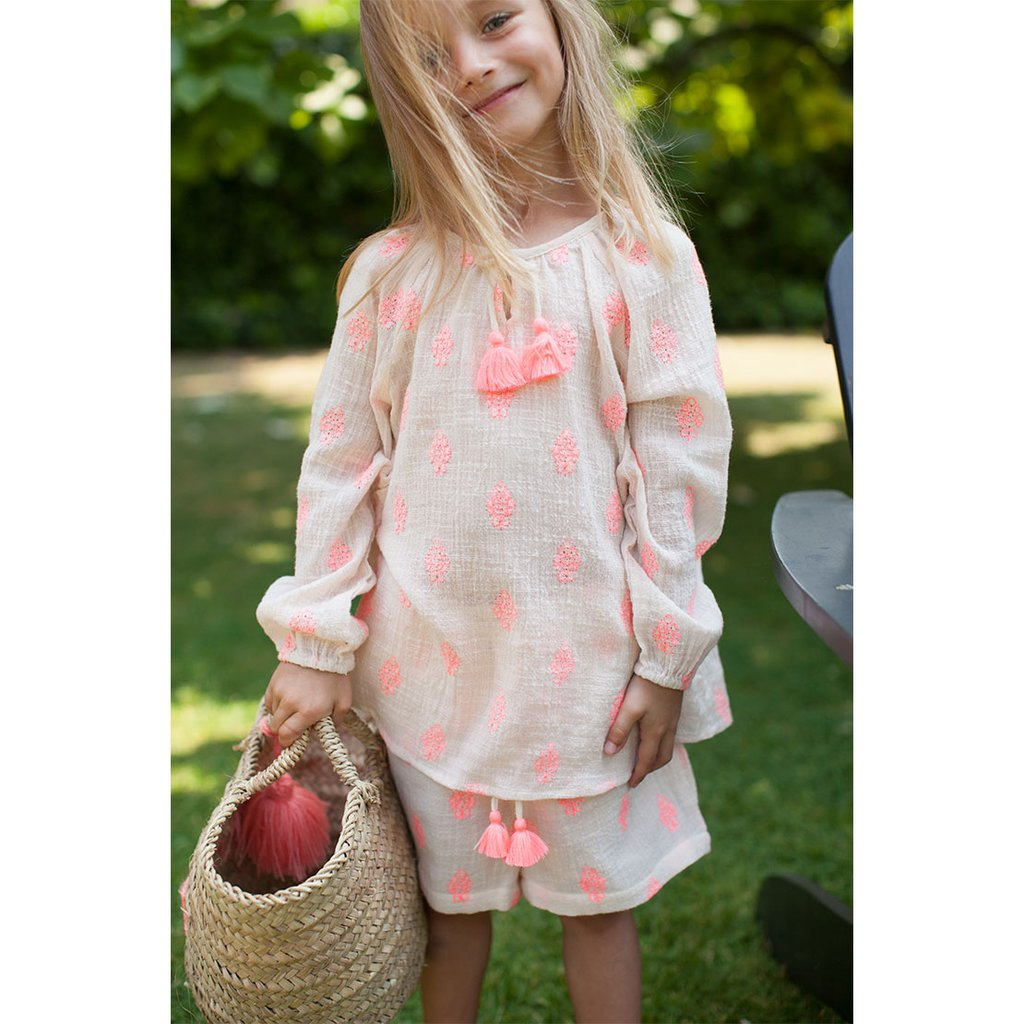 SS19-GIRL, POMPON FLOWER-PINK - Cemarose Children's Fashion Boutique