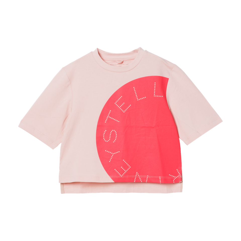 KID GIRL SS TEE WITH LOGO DISK,PINK