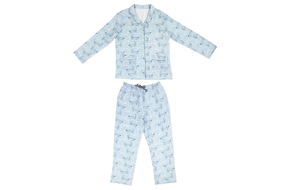 Women's Bamboo Long Sleeve Button-Up PJ Set - Orca Blue