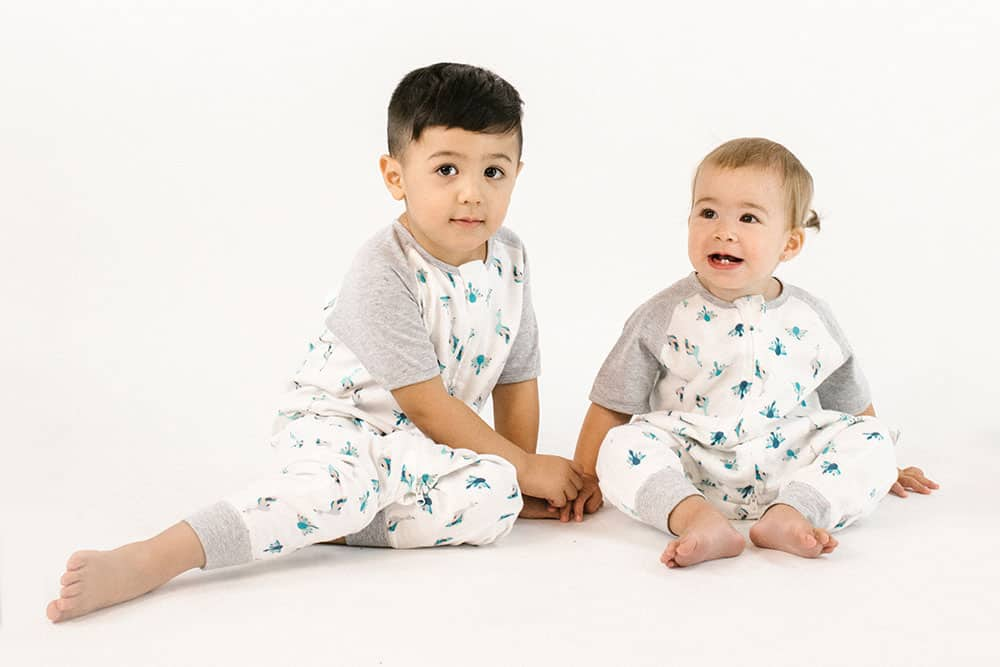 Raglan Bamboo Short Sleeve Sleep Suit - Peacock Parade 0.6 TOG