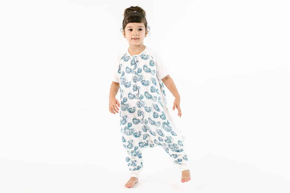 Raglan Bamboo Short Sleeve Sleep Suit - Water Lily 0.6 TOG