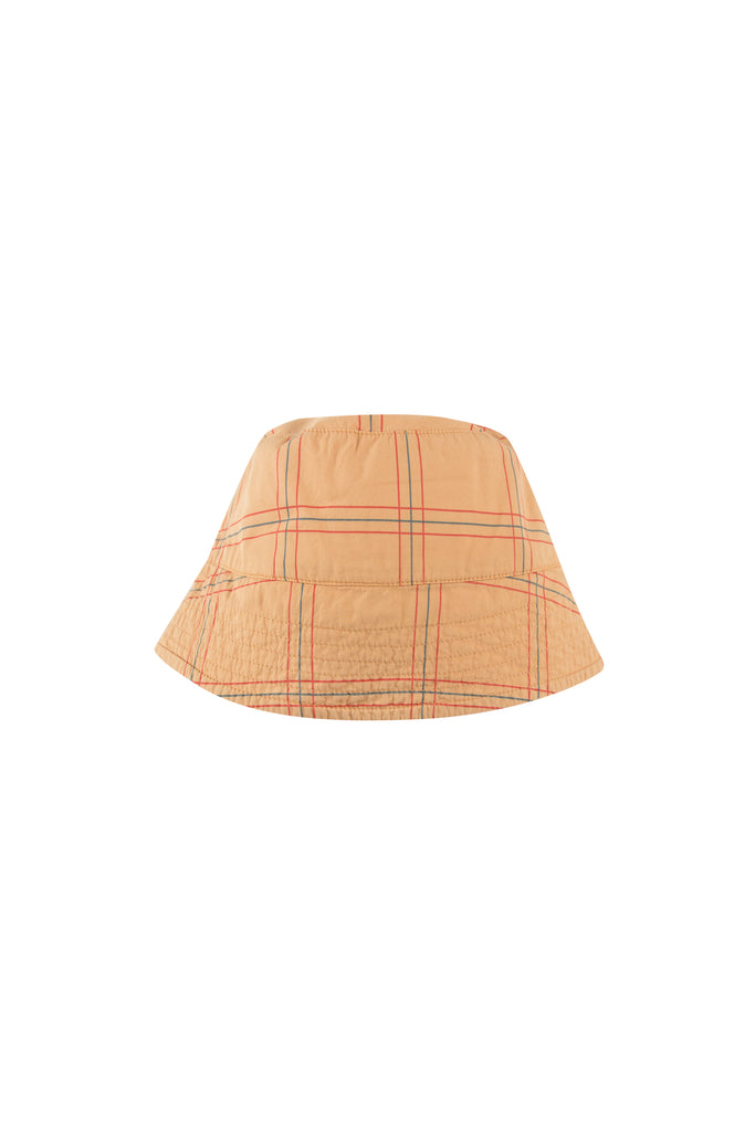 CHECK BUCKET HAT toffee/red