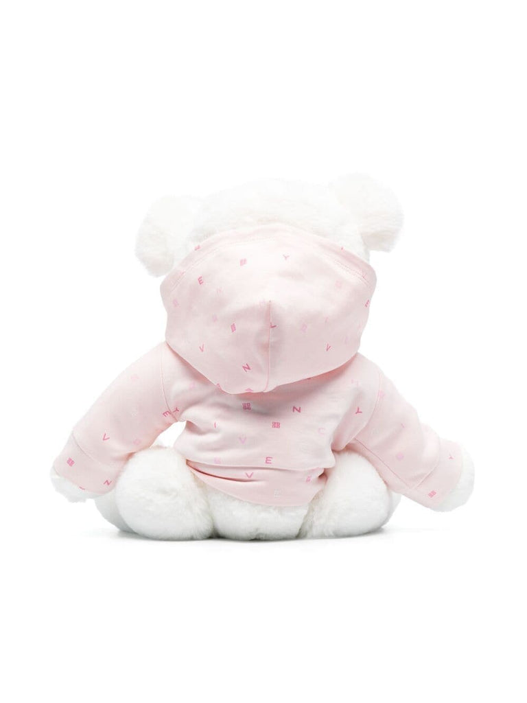 TEDDY W/HOODED PRINTED COTTON SWEAT,PINK