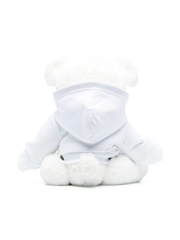 TEDDY W/HOODED SWEATER CRACKED LOGO,WHITE