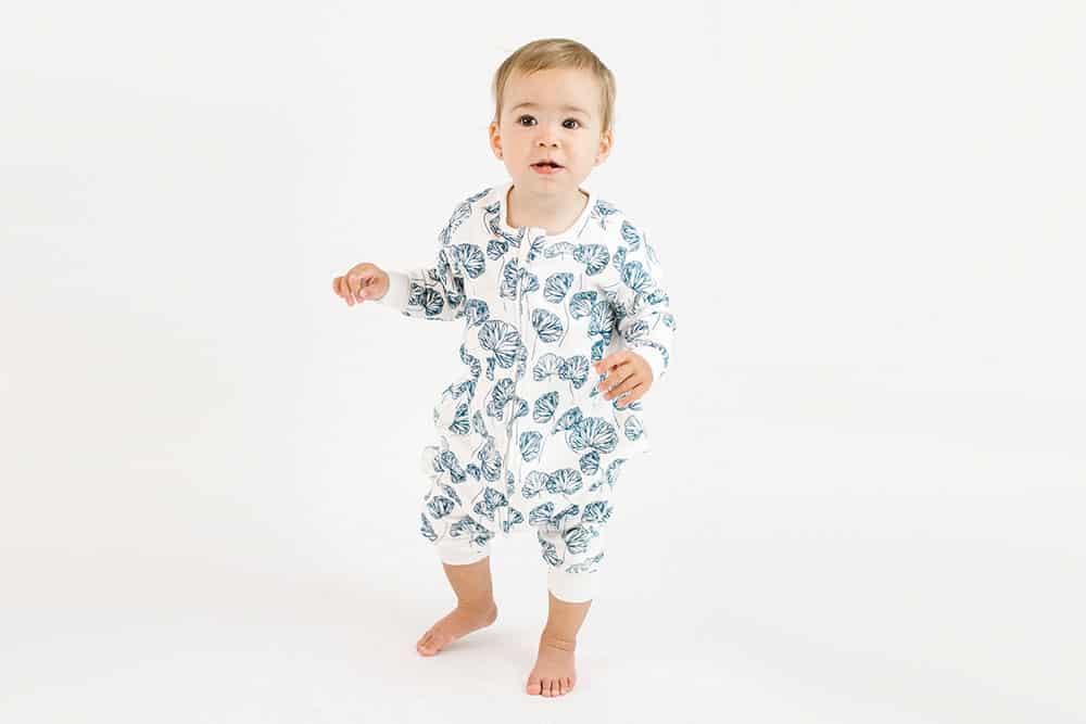 Organic Cotton Long Sleeve Sleep Suit - Water Lily 1.0 TOG