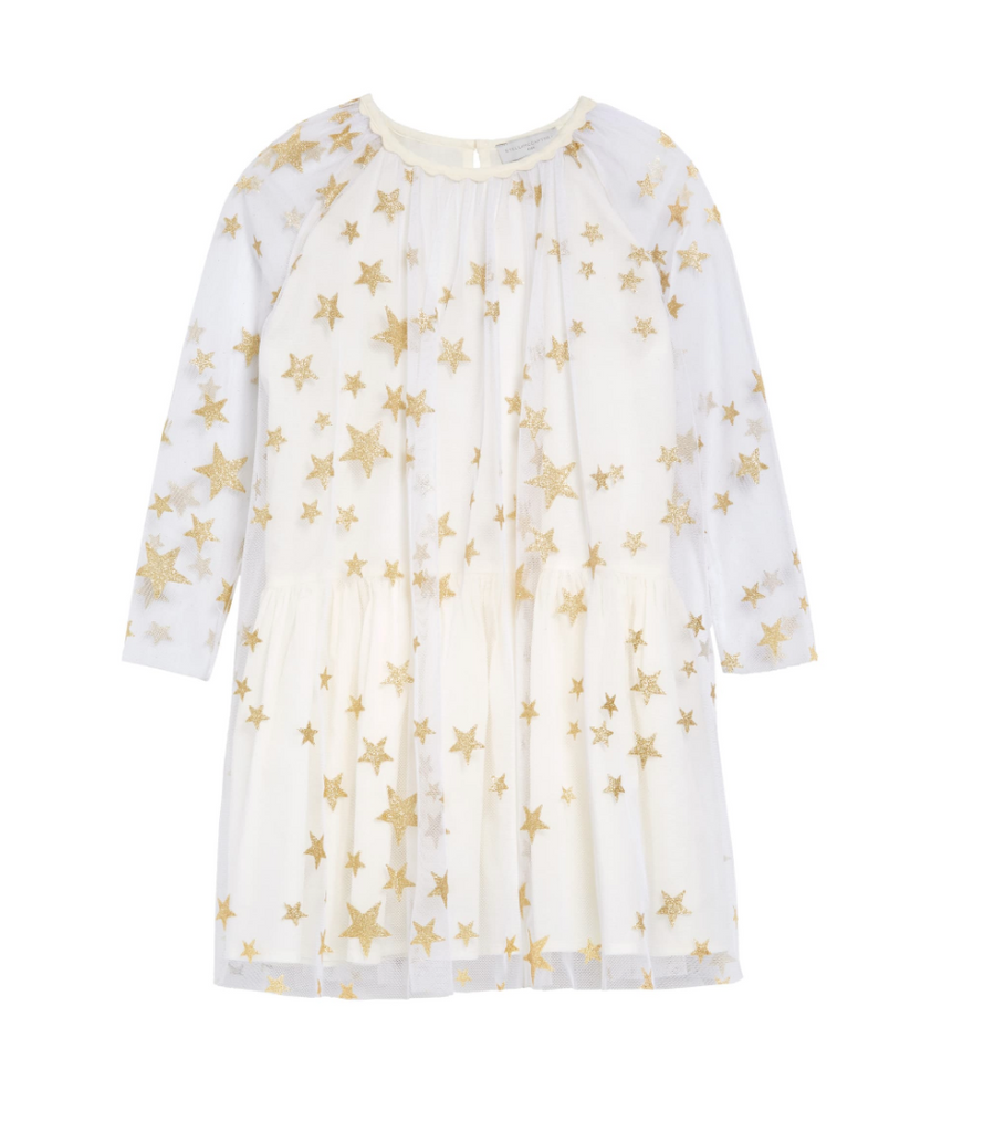 KID GIRL LONG SLEEVE GOLD STARS TULLE DRESS EARLY