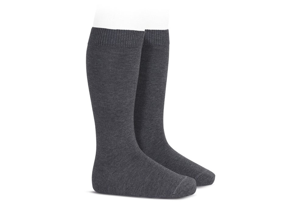 BASIC PLAIN RIB KNEE HIGH SOCKS, Anthracite - Cemarose Children's Fashion Boutique
