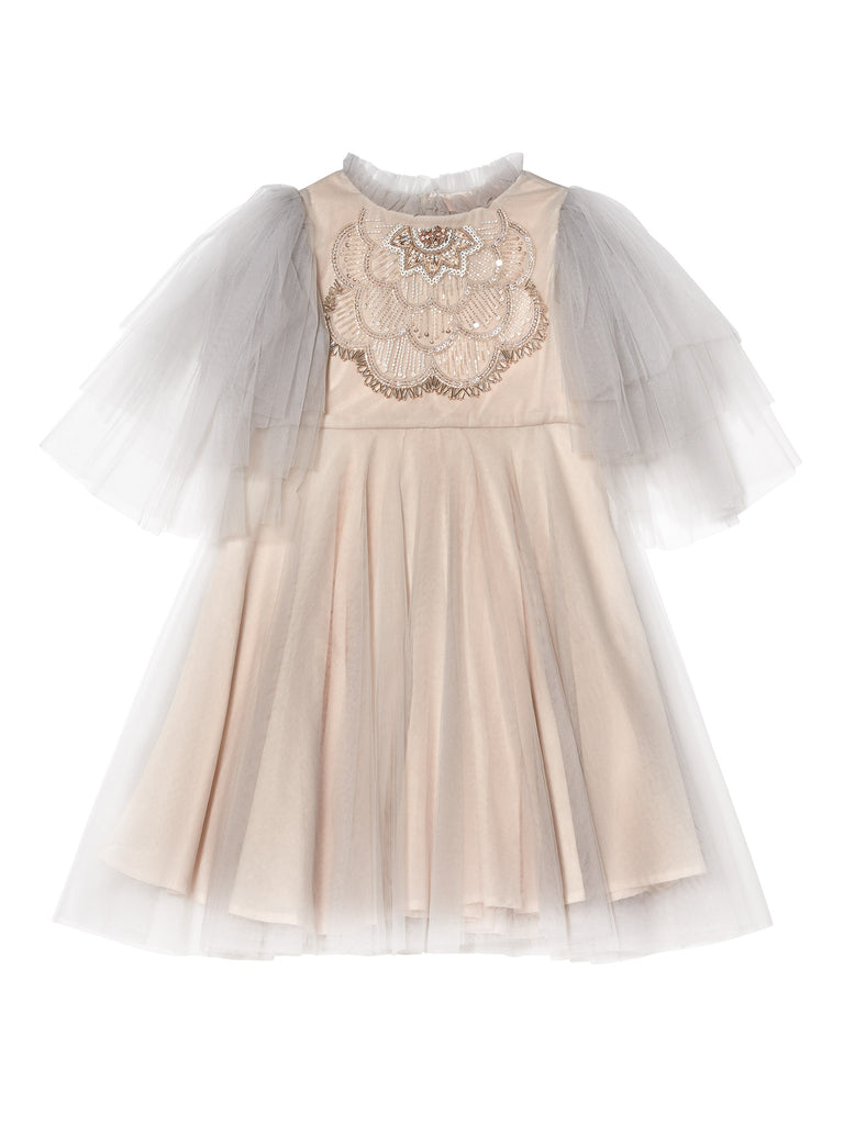 MARGUERITE TULLE DRESS, FRENCH SILVER - Cémarose Canada