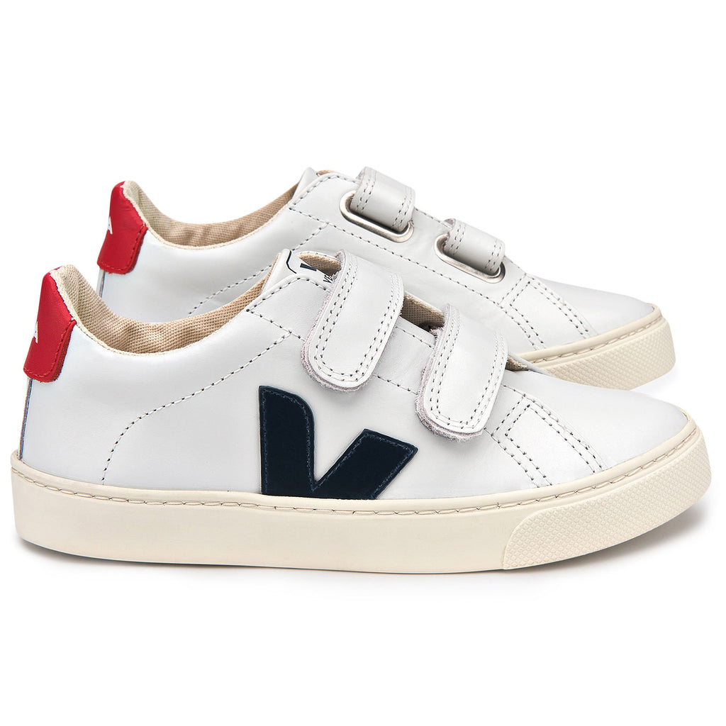 JUNIOR ESPLAR VELCRO LEATHER EXTRA-WHITE NAUTICO PEKIN - Cemarose Children's Fashion Boutique