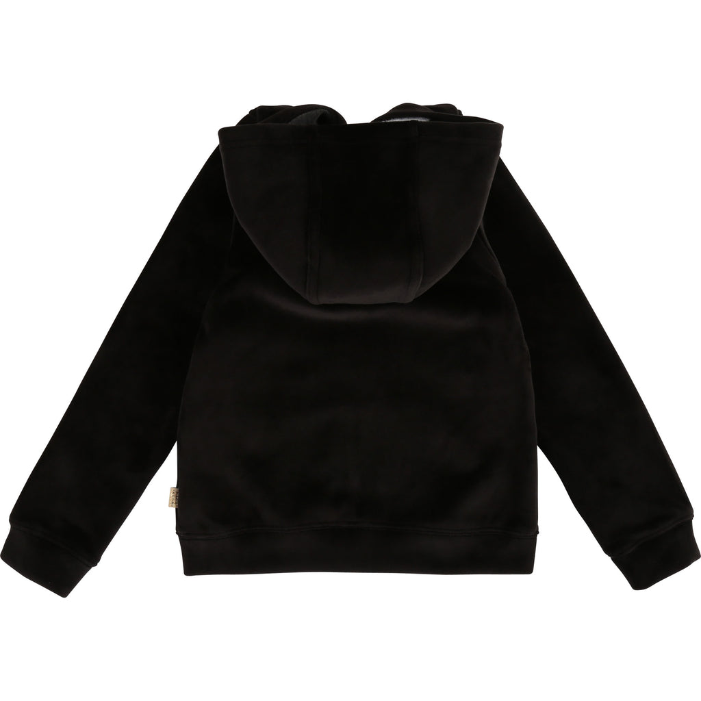 VELVET HOODED CARDIGAN, BLACK - Cemarose Children's Fashion Boutique