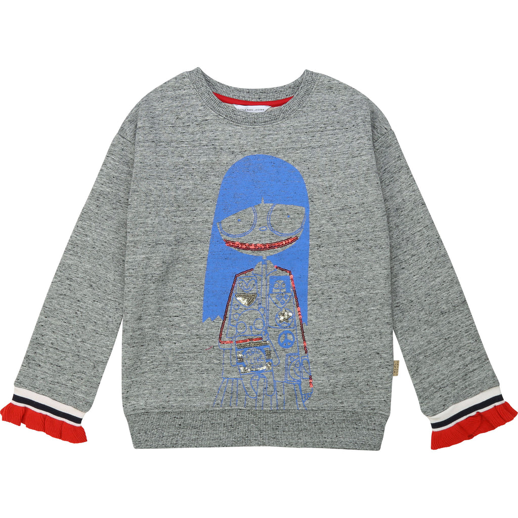 MISS MARC RUFFLED FLEECE SWEATSHIRT, GREY MARL - Cemarose Children's Fashion Boutique