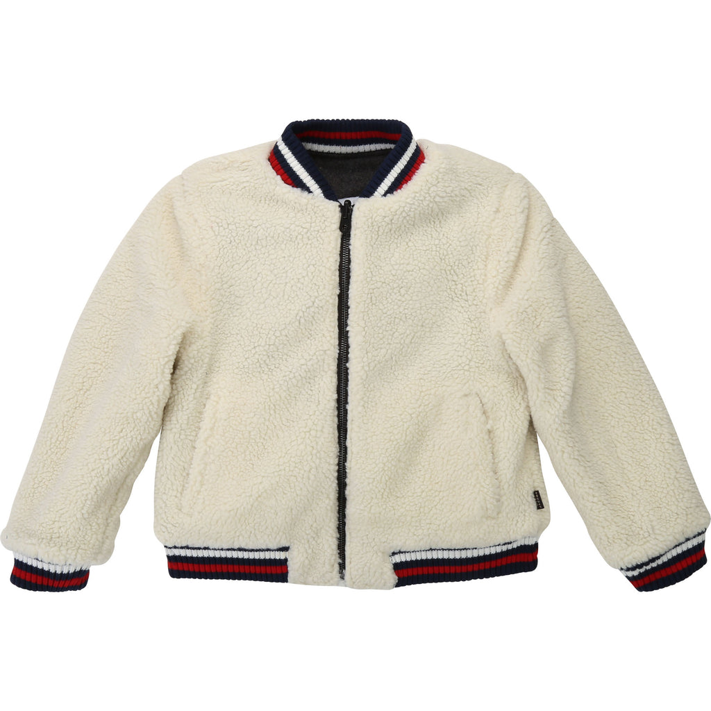 REVERSIBLE JACKET, OFF WHITE GREY - Cemarose Children's Fashion Boutique