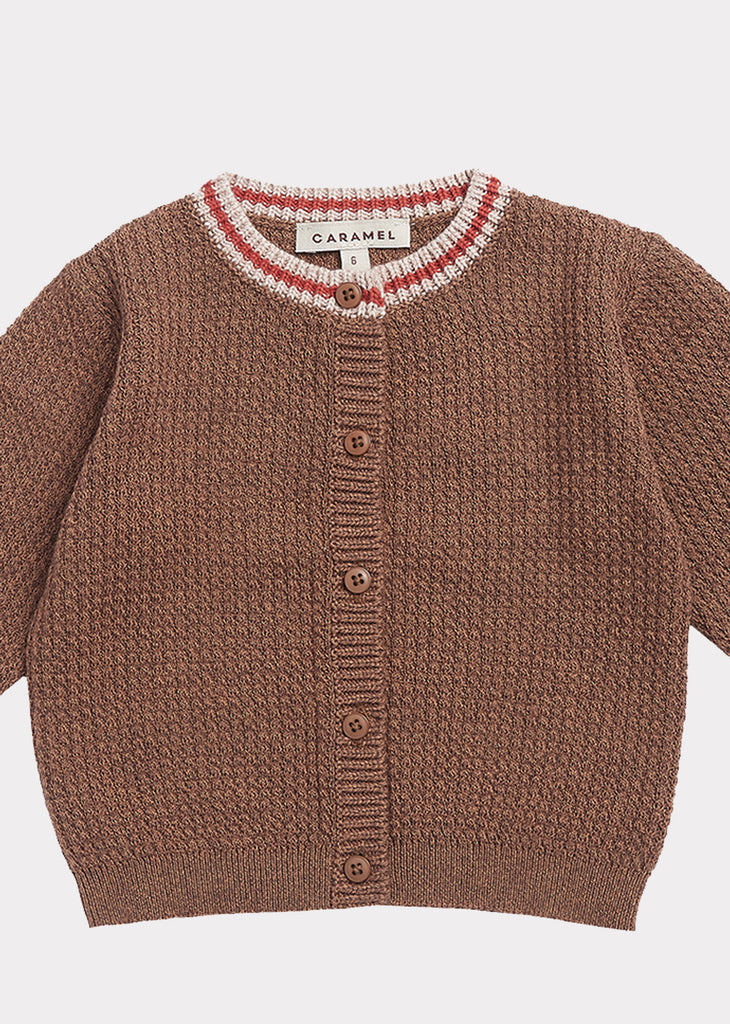 CAMDEN BABY CARDIGAN, BROWN MELANGE - Cemarose Children's Fashion Boutique