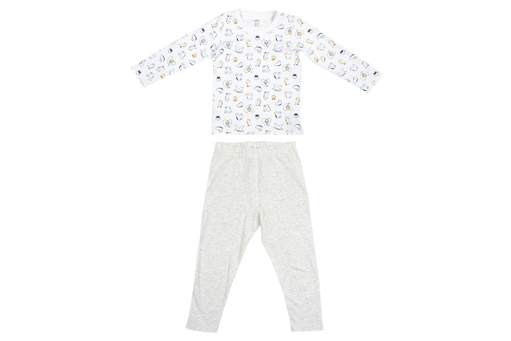 Organic Cotton Two-Piece PJ Set - Pacific Puffin