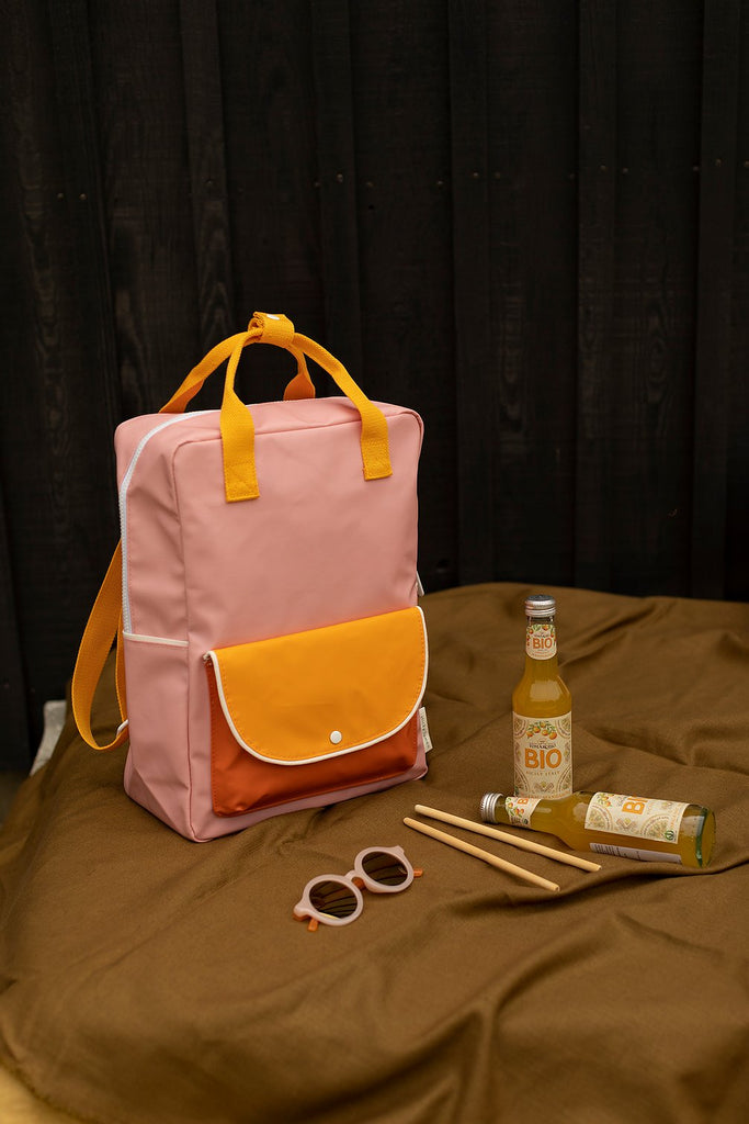 (Large Backpack) wanderer candy pink + sunny yellow + carrot