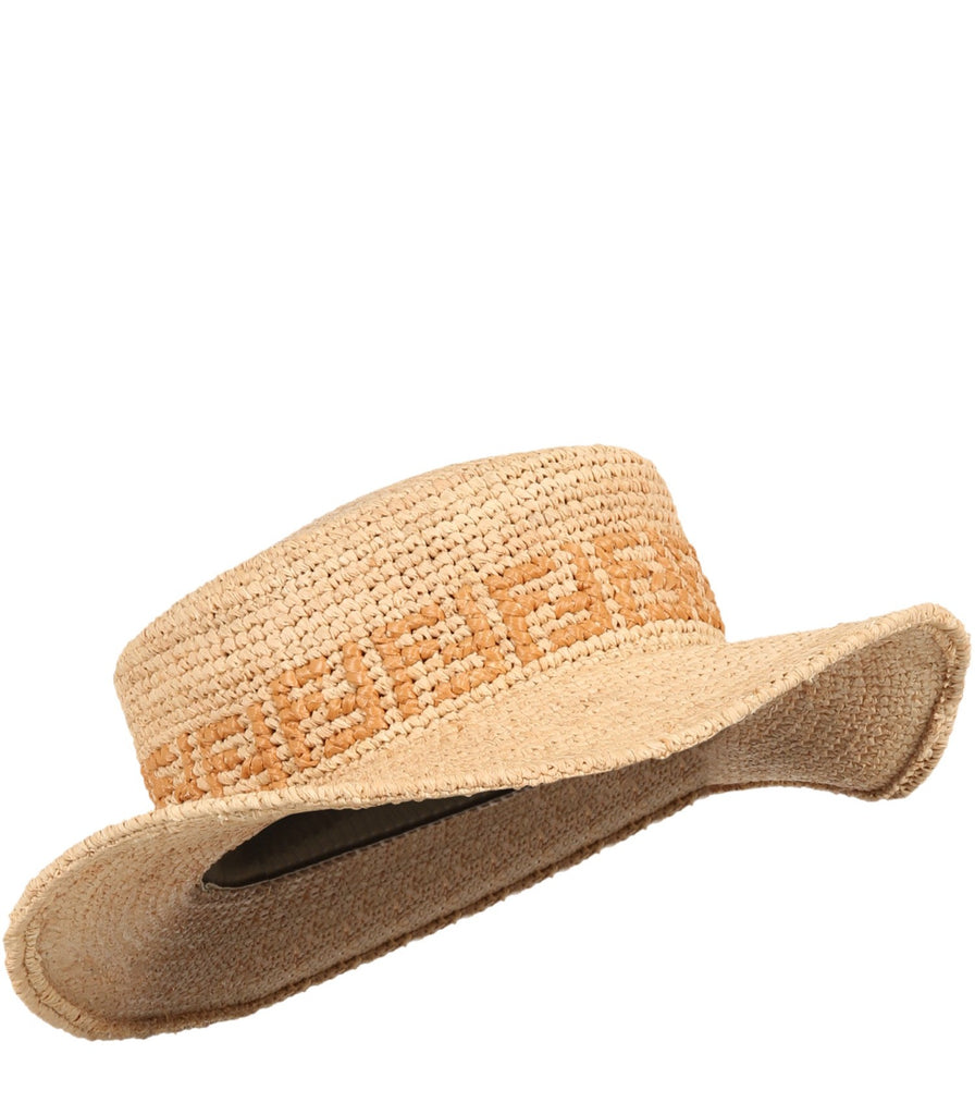Straw Hat With FF,Beige