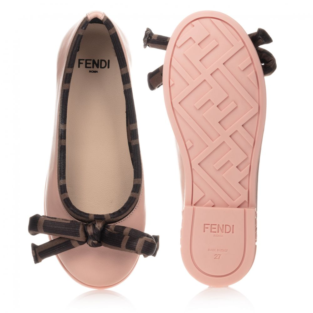 BALLERINA SHOES W/LOGO BOW,PINK