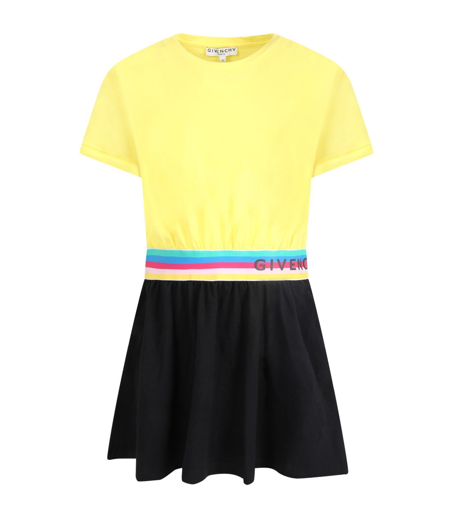 2COLOR SS DRESS, WAIST W/STRIPED LOGO,YELLOW/BLK
