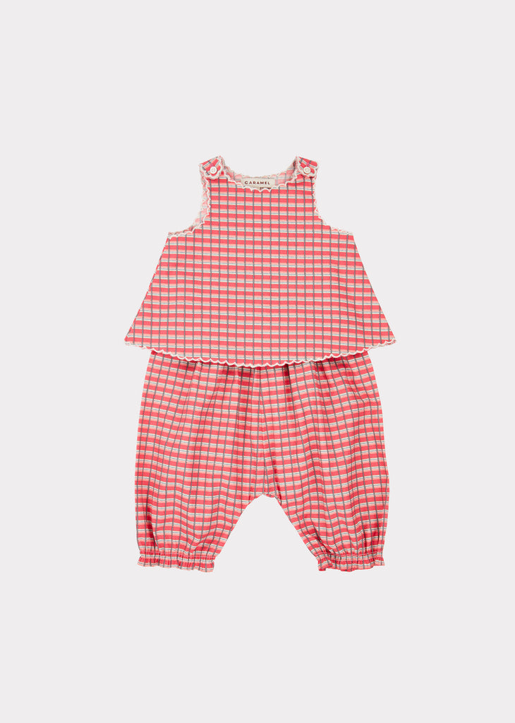 GREEN PARK BABY SET, RED PAINTED CHECK