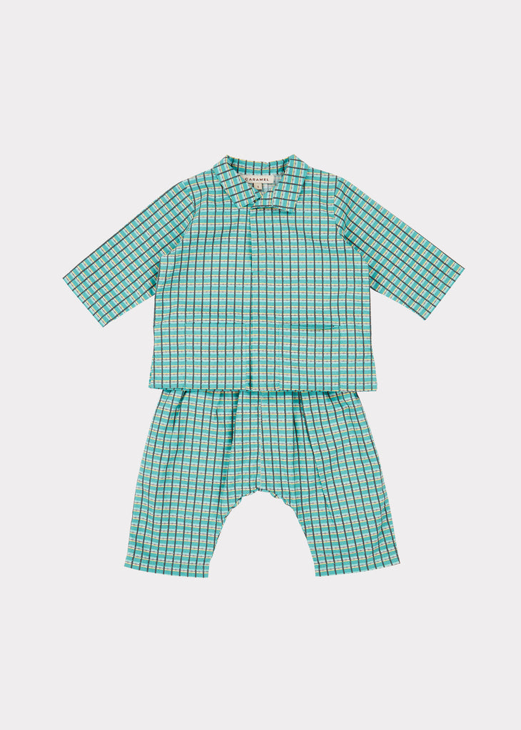 HYDE PARK BABY SET, TOURMALINE PAINTED CHECK - Cemarose Children's Fashion Boutique