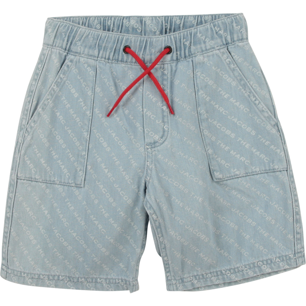 REVERSIBLE DENIM SHORTS, ALLOVER LOGO,BLUE