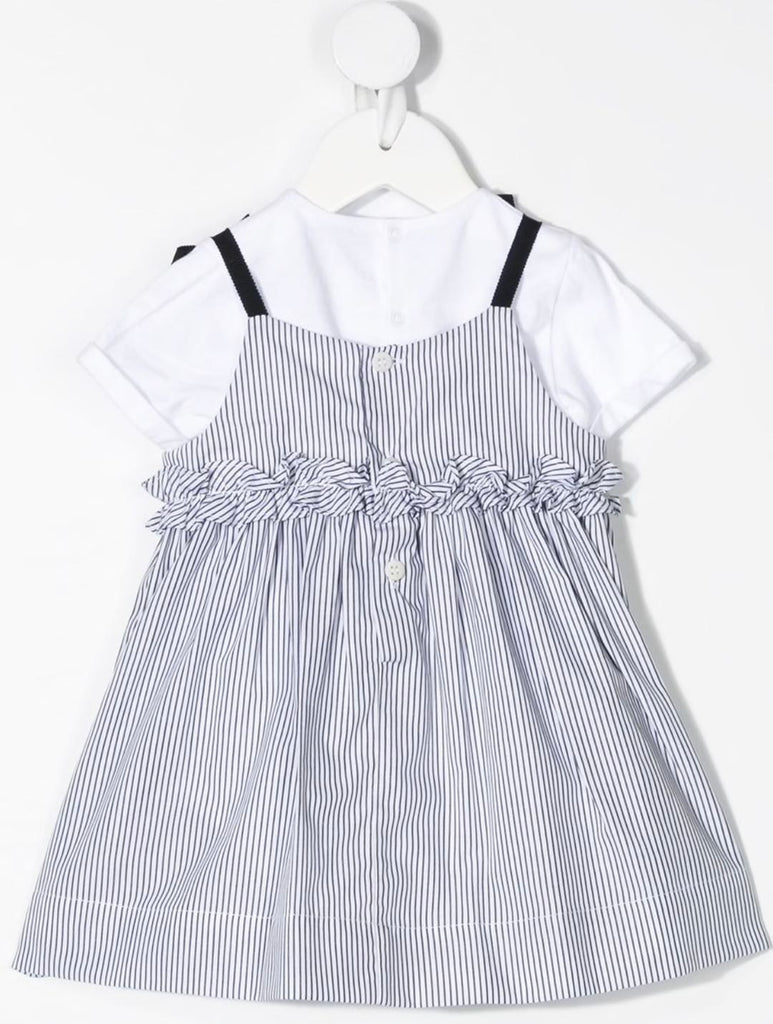 BABY GIRL 2 PC BODYSUIT AND STRIPE DRESS, NAVY WHITE - Cemarose Children's Fashion Boutique