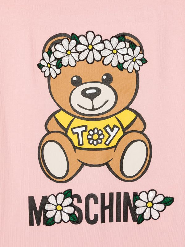 GRL SS DRESS W FLOWER BEAR PRINT,SUG ROSE